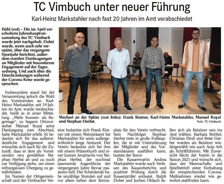 TC Vimbuch unter neuer Führung