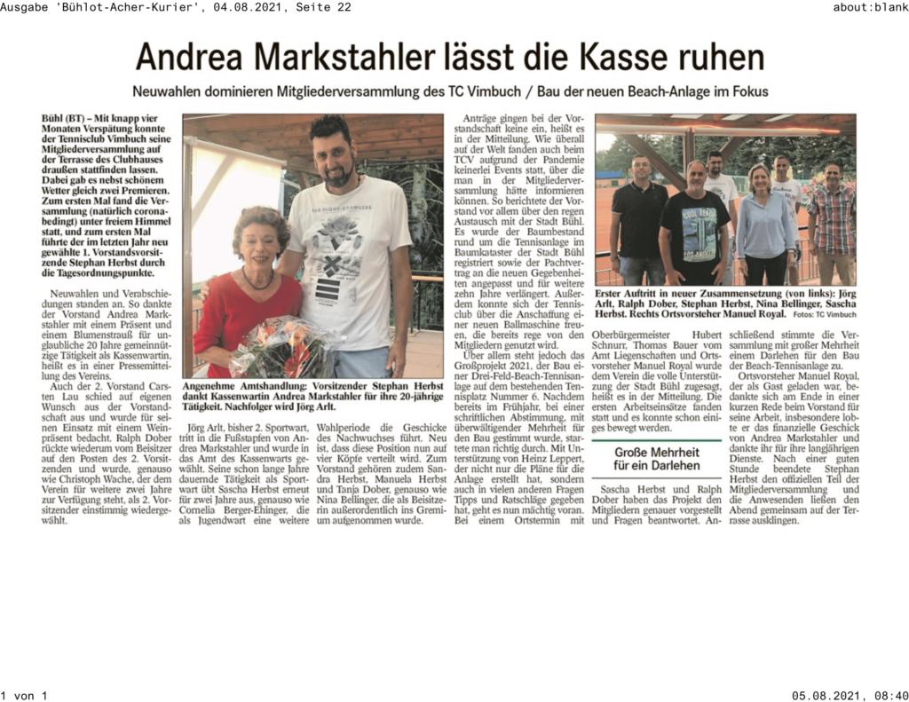 Pressebericht Bühlot-Acher-Kurier, August 2021